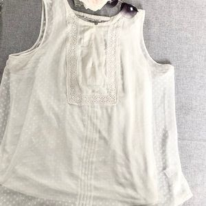 Chiffon Polkadot and Lace Sleeveless Blouse